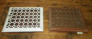 2 MATCHING Antique Cast Iron Floor Vent Grate Register with Louvers 12 X 10