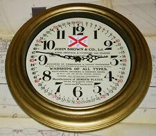 Ship Builder John Brown Wall Clock, 1930-40's Styled Clock, John Browns Glasgow.