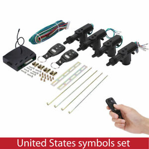 4 Door Power Central Lock Kit & 2 Keyless Entry Car Remote Control Conversion US