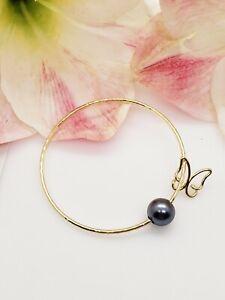 Black Pearl Butterfly Charm Bangle Bracelet