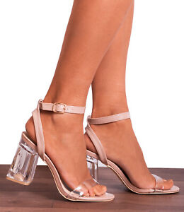 CLEAR PERSPEX ANKLE STRAP NUDE BEIGE BLOCK HIGH HEELED HEELS STRAPPY SANDALS UK