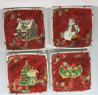 "Four Susan Winget Ceramic 8.75"" Square Plates - Christmas Santa Snowman Lodge"