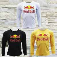 RED BULL ENERGY DRINK RACING LOGO MEN'S BLACK LONG SLEEVE T-SHIRT SIZE S M L XL