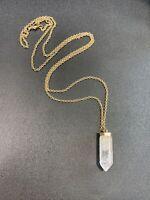 "Vintage Necklace Natural clear quartz crystal  Point Pendant Necklace 30"" Long"