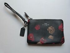 Coach Black POPPY Monogram  Purse / Wallet Zip Round GENUINE