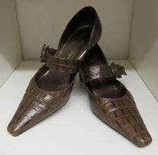 PETER KAISER BROWN CROC STRAPPY SHOES SIZE 4 - 37