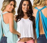 women s Coqueta Tank Top White Knotted Sport Shirt open back Backless Yoga knot