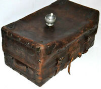 Victorian Large Leather Travel Trunk Luggage Suitcase - WATSON MAKER [PL3304]