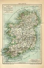 1895 IRELAND DUBLIN LONDONDERRY BELFAST Antique Map