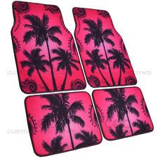 Purple Pink Palm Trees Hawaiian Tropics Comfy Car Carpet Floor Mats 4 PC