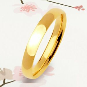 New Yellow Gold Ring Women Titanium Polish 3mm Thin Dome Gifts Ring UKCSK 058