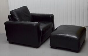 FINE NATUZZI  BLACK LEATHER ARMCHAIR & FOOTSTOOL MADE IN ITALY