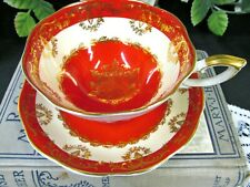 ROYAL STANDARD tea cup and saucer hot red vintage teacup wide mouth footed