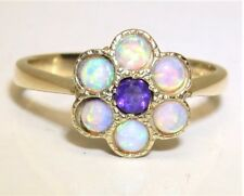 9CT YELLOW GOLD AMETHYST CABOCHON OPAL CLUSTER RING SIZE O