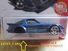 Hot Wheels DARK BLUE MAZDA RX-7 THEN AND NOW LONG CARD (HAS NO REAR WHEELS)
