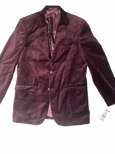 Alfani Mens Velvet Sport Coat Size Large Burgundy NWT