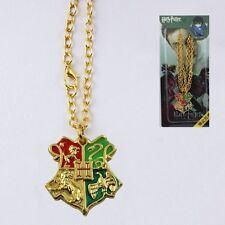 HARRY POTTER Hogwarts Logo Golden Metal Necklace NIB