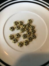 20 7mm Gold Leaf Bead Cap Bali Style Pewter Beads SALE #15