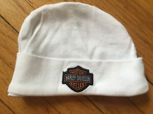 Baby Harley Davidson Motorcycle Beanie Hat Cap Authentic 3/6 Month White