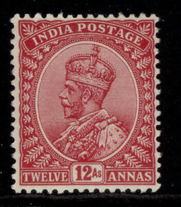 INDIA GV SG213, 12a claret, LH MINT.