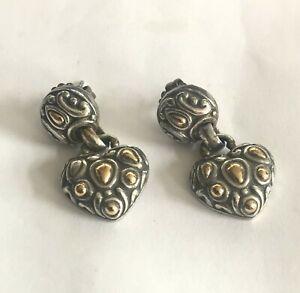 John Hardy 18k Yellow Gold & Sterling Silver Heart Droop Earrings