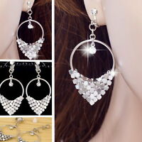 #E121H CLIP ON EARRINGS Party Hoop Crystal Dangle Women White Gold Plated NEW