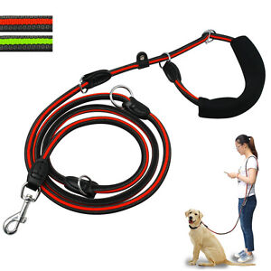 Hands Free Dog Leash Strong Nylon Rope Adjustable Pet Walking Leads Green Orange