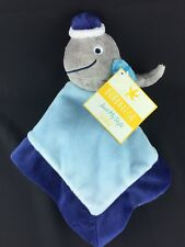 """Bananafish Gray Whale Blue Plush Security Blanket Just My Style 12"""" x 12"""""""