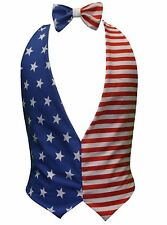 Unisex USA Independence Day 4th of July American Bow Tie & Backless Waistcoat