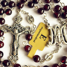 Our Lady Of Ave Maria GARNET GEMSTONE BEADS Rosary Catholic Necklace Cross Box