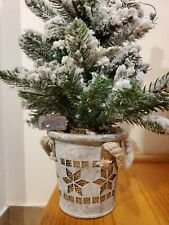 "Mini Snowy Light Up Tree In A Pot. 21"" Inch Tall. Light Up Snow Tree Decoration"