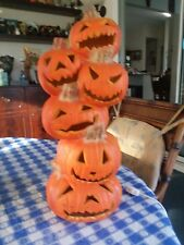six stacked pumpkins that light up great condition & working order plugs in wall