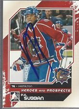 Montreal Canadiens PK SUBBAN Signed Heroes & Prospects Card