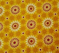 Floral Print BTY Unbranded Brown Wine Off-White Flowers Goldenrod