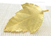 Large Modern Gold Tone Leaf Pin Brooch Vintage