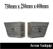 Pair of  Under Tray Undertray Tool Box - Aluminium Left Right Underbody Toolbox