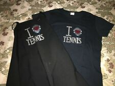 """""""I Love Tennis� Duo-Women's Glittery T-shirt size M and Apron Brand New!"""