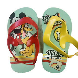 Disney Baby 5/6 Flip Flops Sling Back Red Green Good Vibes Mickey Mouse Pluto
