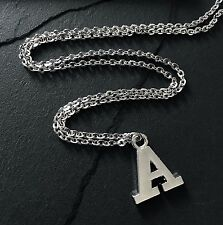 """Silver A Initial Letter Alphabet Pendant Charm on 28"""" Stainless Steel Chain"""