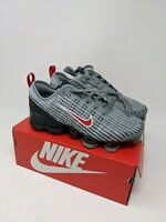 Nike Air Vapormax Flyknit 3 GS Size 5Y BQ5238 006 PARTICLE GREY UNIVERSITY RED