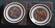 Vintage Stained Glass Collector Plates Lot of 2 Noel Vitrail Limoges in box