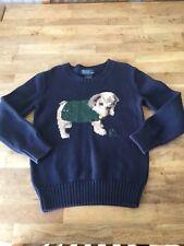 EE67 Polo Ralph Lauren Boys Age 6 Navy Pug Dog Cotton Jumper