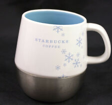 Starbucks Coffee Mug Holiday 2007 Urban Stainless Steel White Blue Snowflake Cup