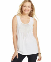 Charter Club WOMENS  Scoop-Neck Embellished Tank Top BRIGHT WHITE SIZE SMALL