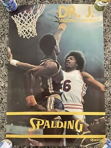 Vintage 70's Dr. J Spalding Consultant NBA Poster Advertising