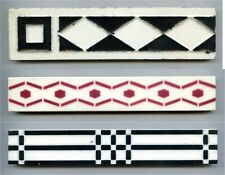 3 Art Deco border tiles by various manufacturers, 1920s/1950s