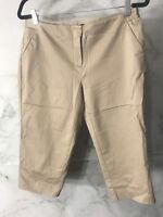 Worthington Womens Petite Size 8P Modern Fit Tan Khaki Flat Front Capri Pants