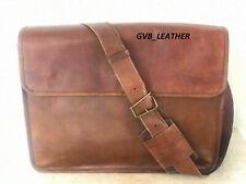 Laptop Satchel New Messenger Campus Shoulder Bag Real Leather Oil Brown Vintage