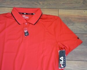 Fila Athletic Fit Performance Red Polo Golf Shirt Short Sleeve Wicking Shirt
