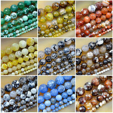 Faceted Fire Agate Round Gemstone Loose Beads 15c 4mm 6mm 8mm 10mm 12mm 14mm